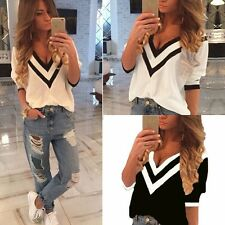Sexy Women Ladies Casual Loose V Neck Long Sleeve Top Blouse Tee Shirt S-XXL RD