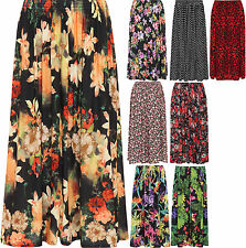 Womens Plus Floral Print Midi Skirt Ladies Long Elasticated Waist Flower 16-26