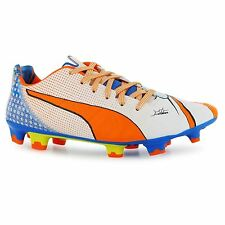 Puma evoPOWER Pop 1 FG Firm Ground Football Boots Mens White/Orn Soccer Cleats