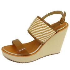 LADIES DOLCIS TAN WHITE WEDGES PLATFORM SANDALS PEEP-TOE ANKLE SHOES SIZES 3-8