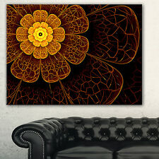 Symmetrical Orange Fractal Flower' Digital Art Floral Canvas Print