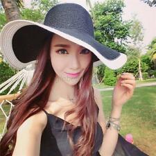 Women's Wide Large Brim Folding Summer Sun Floppy Hat Straw Beach Boheimia Cap