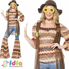 60s 70s HARMONY HIPPIE FLARES HIPPY - 8-22 - womens ladies fancy dress costume