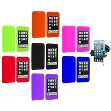 Silicone Rubber Gel Soft Case Cover+Windshield Mount for iPod Touch 3rd 2nd Gen