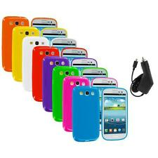 TPU Jelly Solid Rubber Case Cover+Charger for Samsung Galaxy S III S3 i9300