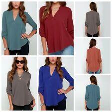 New Women's V-Neck Slim Cotton Fit Long Sleeve T-Shirts Soid Tops Blouse S-5XL