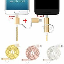 2 in 1 USB 3.1 Type C Micro USB Data Charging Cable For Android & Type C Phone