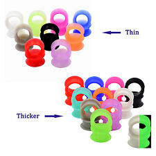 10PCS (5Pairs) Silicone Ear Flesh Tunnel Plug Thin & Thicker Silicone Gauges