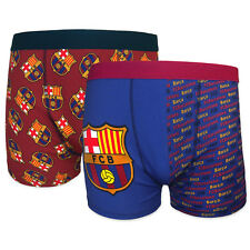 FC Barcelona Official Soccer Gift 2 PAIR Pack Mens Crest Boxer Shorts
