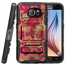 For Samsung Galaxy S6 Active Rugged Holster BeltClip Stand Case FLORAL DREAM