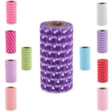 25yd Flocking Polka Dot Tulle Roll Spool for Wedding Gift Craft Party Decor