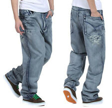 HOT Plus Size Mens Jeans Hip Hop Skateboard Pant Stonewashed Baggy Gray W30-46