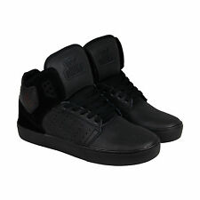 Supra Atom Mens Black Leather High Top Lace Up Sneakers Shoes