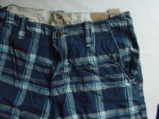 NWT Hollister Low Tide Fit Plaid Shorts Navy Blue White Mens Sz 31 32 33