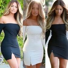 Women Off Shoulder Bodycon Zipper Dress Sexy Cocktail Club Partywear Mini Dress
