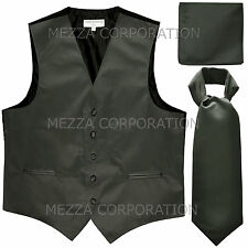 New Men's dark gray formal vest Tuxedo Waistcoat ascot hankie set wedding prom