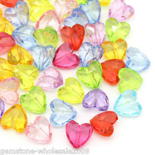 Wholesale Lots Acrylic Spacer Beads Transparent Love Heart Mixed 12mmx12mm