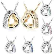 Romantic Womens Heart Crystal Pendant Chain Necklace Silver Plated Jewelry Gift