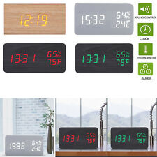 LED Digital Wood Wooden Desk Alarm Clock Thermometer Timer Snooze Voice Control