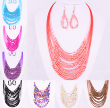Necklace+Earrings Set Multilayer Collar Chain Charm Jewelry Glass Beaded-8 Color
