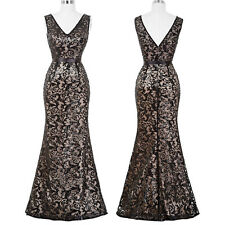 Wedding Mermaid V-Neck Sequined Ball Gown Evening Prom Party Dress Bridesmaids