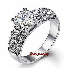 18k White Gold Plated Brilliant Cut Clear Swarovski Crystal Engagement Ring R140