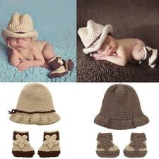 Newborn Photography Photo Prop Baby Knitted Costume Crochet Hat Shoes Set Gift
