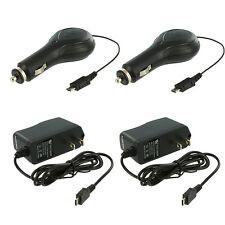 2X Retractable Micro USB Car Charger+2X Wall Travel Home Charger for Cell Phones