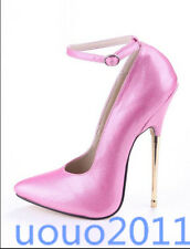 Sexy Womens Pointed Toe Ladies 16cm High Heels Pump Party Metal Heel Shoes Size
