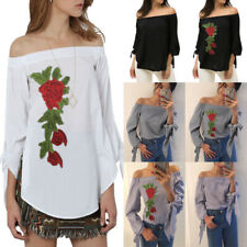 Womens Ladies Off Shoulder Embroidery Floral Blouse Solid Stripe Top T Shirt