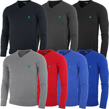 Lyle & Scott 2015 Mens Green Eagle KN183G V Neck Lambswool Golf Jumper Sweater