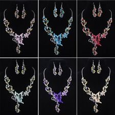 New Fashion Butterfly Flower Rhinestone Crystal Necklace Dangle Earrings Jewelry
