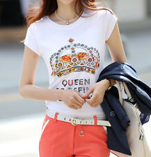 Womens White Round Neck Cotton Short Sleeve T-shirt Casual Blouse Tops Basic Tee