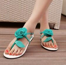 New Womens thongs Summer Strap Flower Buckle Flip Flops Lady  Flats Sandals new