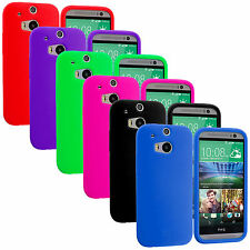 For HTC One M8 New Silicone Rubber Soft Skin Gel Color Case Cover Accessory