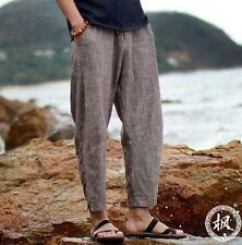 Men loose linen blend casual pants Fashion breathable beach cropped trousers New