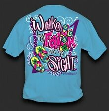 NEW Hot Gift Sweet Thing Funny Walk by Faith Cross Blue Girlie Bright T Shirt