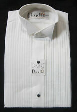 New White Mens 2XL Wing Collar Tuxedo Shirt Butterfly Tip Mason Wedding Prom