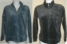 NWT Genuine STYLE & CO SPORT velour zipper jacket w beaded flower, size S, PM