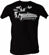 Adult Mens Black SciFi Movie Back to the Future Open Delorean Car T-shirt Tee