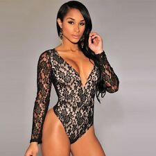 Women Sexy Lace Long Sleeve V-Neck Nightclub Cocktail Party Playsuits Rompers