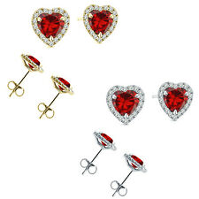 6mm Garnet Birth Gem Stone Stud Halo Solitaire Heart Silver Pair Earrings