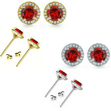 6mm Garnet Birth Gem Stone Stud Halo Solitaire Round Silver Pair Earrings
