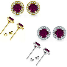 6mm Alexandrite Birth Gem Stone Stud Halo Solitaire Round Silver Pair Earrings