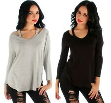 Plus Size Womens 1X 14 16 NEW CUT-OUT Soft STRETCH COLD-SHOULDER TOP Black/Gray