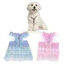 Summer Clothing Dogs Pet Puppy Dog Clothes Bow Lace Grid Skirt Cute Dog Dress