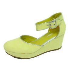 LADIES WOMENS YELLOW MID HEEL WEDGE PLATFORM STRAP WORK SHOES PUMPS SIZE UK 3-8