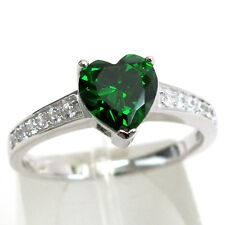 LOVELY 2 CT EMERALD HEART CUT 925 STERLING SILVER RING SIZE 5-10