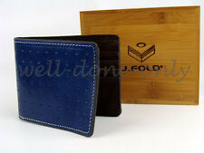 J.Fold Lounge Master cobalt NAVY blue BROWN mens leather WALLET ID WINDOW gift