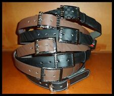 "MENS DESIGNER STYLE JEAN BELTS BLACK or BROWN FAUX LEATHER 28""-36"" ONE SIZE BELT"